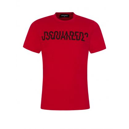 Kids Red Relaxed-Fit 'Fractured Logo' T-Shirt