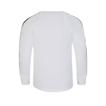 Kids White Relaxed-Fit Long-Sleeve Logo Tape T-Shirt