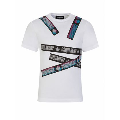 Kids White Relaxed-Fit Tape Logo T-Shirt