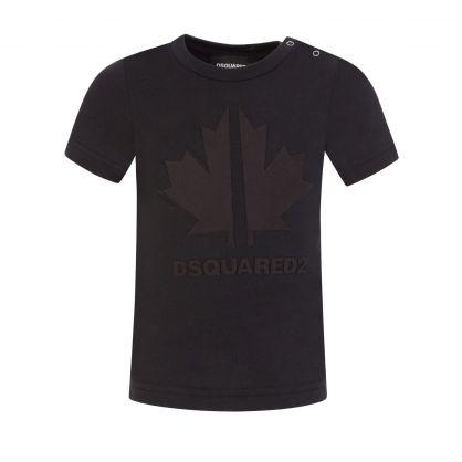 Kids Black Baby Leaf Logo T-Shirt
