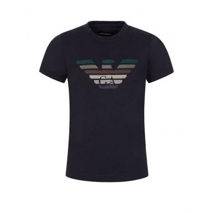 Junior Black Embroidered Logo T-Shirt