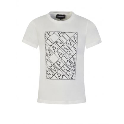 Junior Off White Embroidered Logo T-Shirt