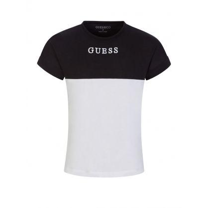 Kids Black/White Organic Cotton Logo T-Shirt