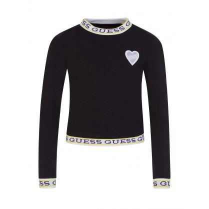 Kids Black Long-Sleeve Heart Patch T-Shirt
