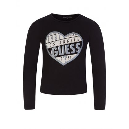 Kids Black Long-Sleeve Heart Logo T-Shirt
