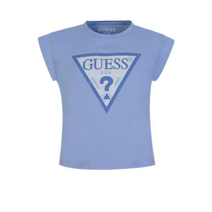 Kids Blue Sparkle Logo Cropped T-Shirt
