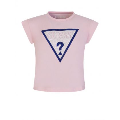 Kids Pink Sparkle Logo Cropped T-Shirt