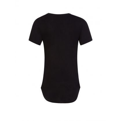 Kids Black Leopard Print Logo T-Shirt