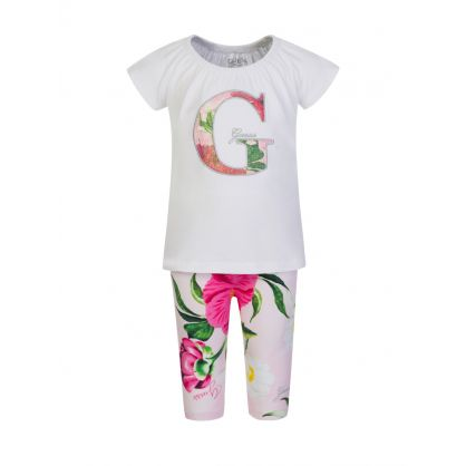 Kids White/Pink Floral Print T-Shirt & Leggings Set
