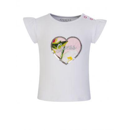 Kids White Floral Baby T-Shirt & Skirt Set