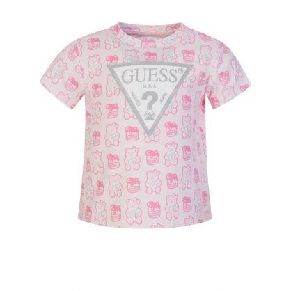 Kids Pink Allover Bear T-Shirt