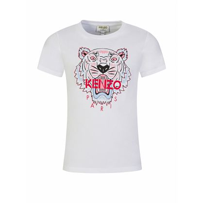 White Tiger Print Logo T-Shirt