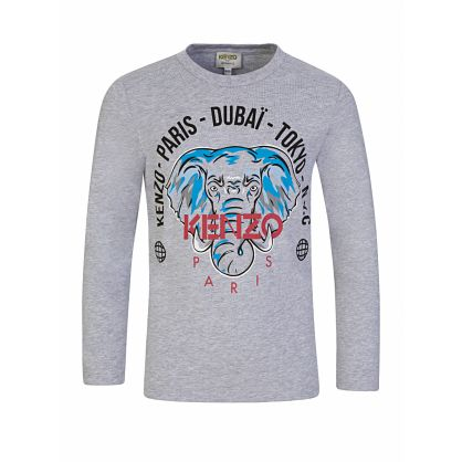 Grey Long-Sleeve 'Disco Jungle' Elephant Logo T-Shirt