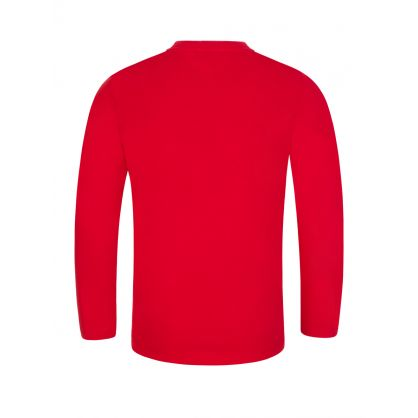 Red Long-Sleeve Tiger Logo T-Shirt