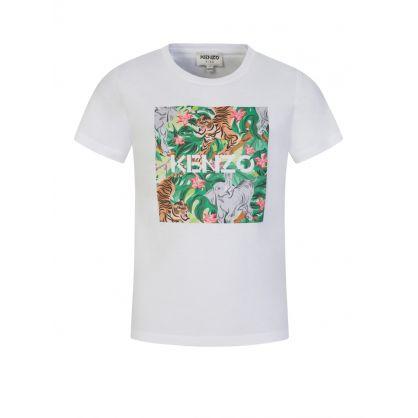White Jungle Print T-Shirt