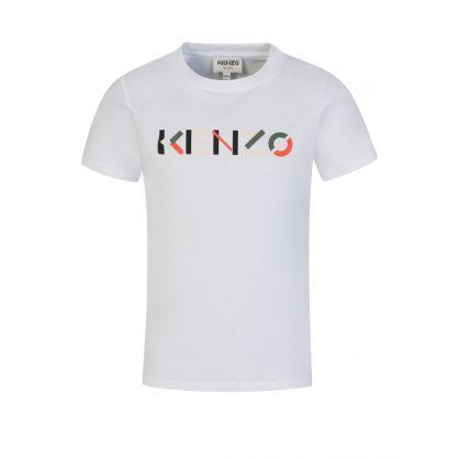 White Colourful Logo-Print T-Shirt