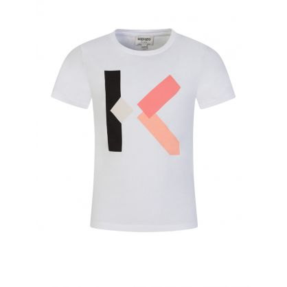 White 'K' Logo Print T-Shirt