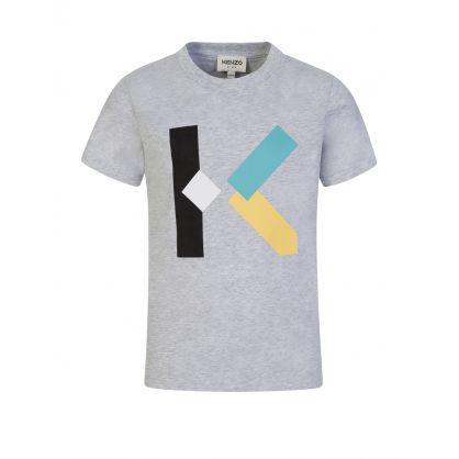 Grey 'K' Logo Print T-Shirt