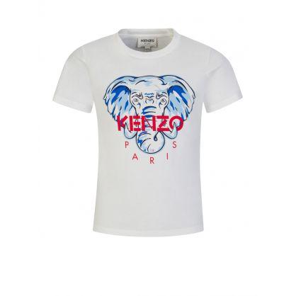 White/Red Elephant Logo T-Shirt