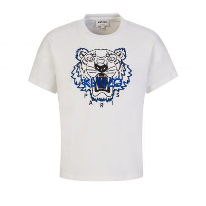 Off White Embroidered Tiger Logo T-Shirt