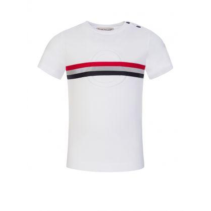 White Logo Stripe Baby T-Shirt