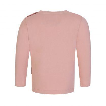Pink Long-Sleeve Multi-Logo T-Shirt