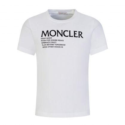 White 'Words of Wisdom' Logo T-Shirt
