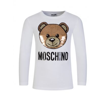 Kids White Sequin Bear T-Shirt