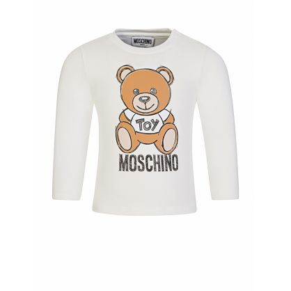 White Long-Sleeve Bear T-Shirt