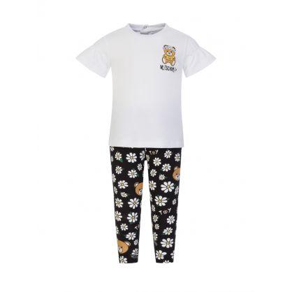 Kids White/Black Daisy Bear T-Shirt & Leggings Set