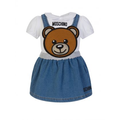 Kids White/Blue T-Shirt & Dungaree Skirt Set