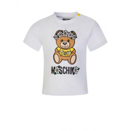 Kids White Daisy Bear T-Shirt