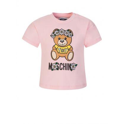 Kids Pink Daisy Bear T-Shirt
