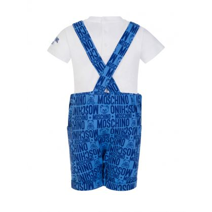 Kids Blue Teddy Print T-Shirt & Salopette Set