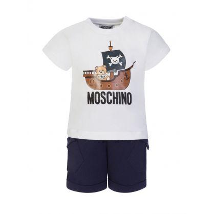 Kids White/Navy Teddy Pirate T-Shirt & Shorts Set