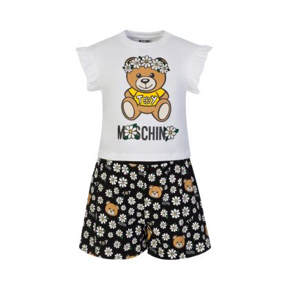 Kids White/Black Flower Bear T-Shirt & Shorts Set