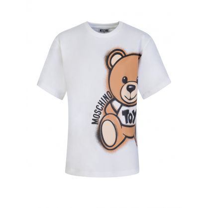Kids White Maxi Bear Logo T-Shirt