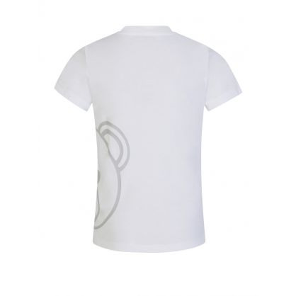Kids White Teddy Bear Face Logo T-Shirt
