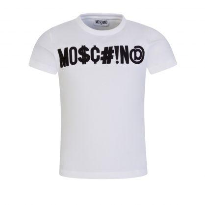 Kids White Embroidered Symbols Logo T-Shirt