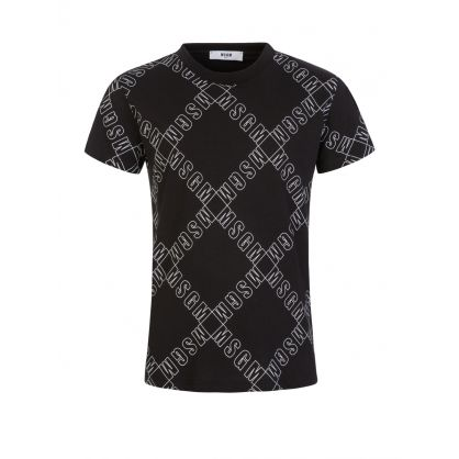 Kids Black Multi-Logo T-Shirt