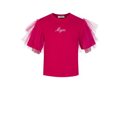 Kids Pink Frill Sleeve T-Shirt