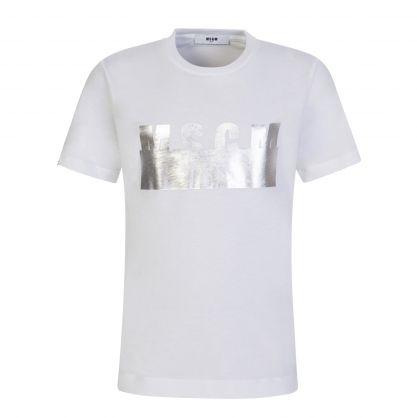 Kids White High Shine Logo T-Shirt