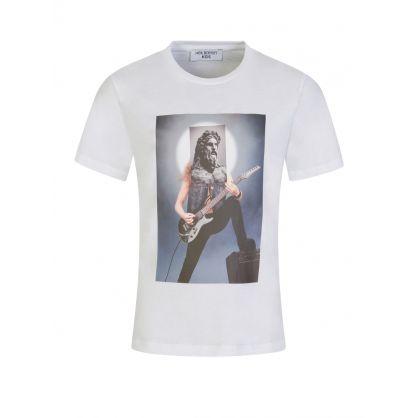 """Kids White """"The Rockstar God"""" Print T-Shirt"""