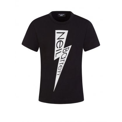 Kids Black Lightning Logo T-Shirt