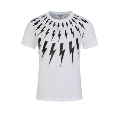 Kids White Multi Lightning T-Shirt