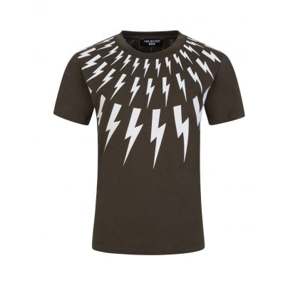 Kids Green Multi Lightning T-Shirt
