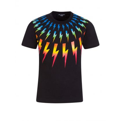 Kids Black Colourful Thunderbolts T-Shirt