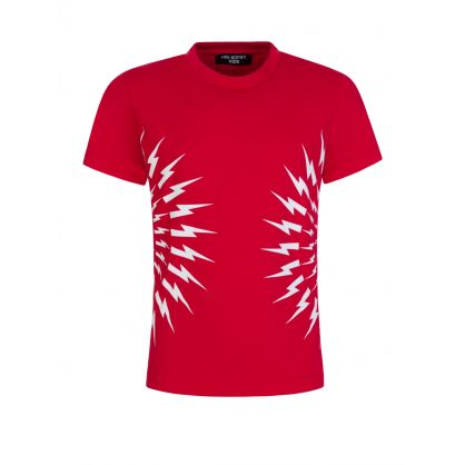 Kids Red Multi Thunderbolts T-Shirt
