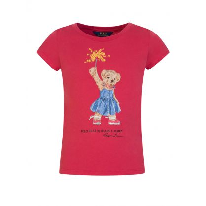 Kids Red Sparkler Bear T-Shirt