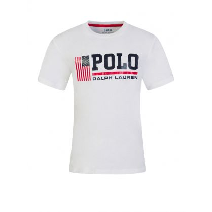 Kids White Polo Sport Logo T-Shirt